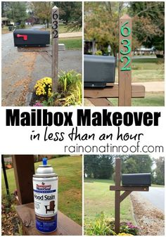 Great and easy mailbox idea. Just give you post and numbers a quick paint job for an easy mailbox makeover.