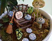 Fairy Garden Kit: Little Cloud Twig bench gift set 10 items