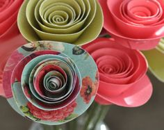 15 Paper Flowers on Stems- Bouquet of Paper Flowers-  Home Decor
