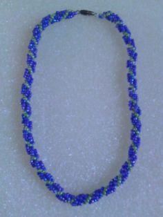 Light Blue & Lime Green spiral necklace