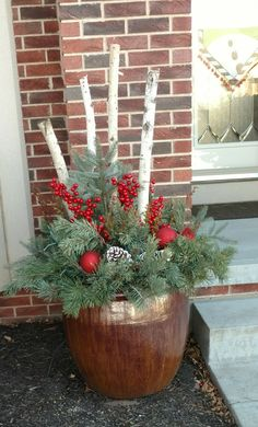 Winter by Patty Christmas Log, Christmas Wreaths, Christmas Crafts, Christmas Ornaments, Christmas Arrangements, Christmas Centerpieces, Xmas Decorations, Outdoor Christmas Planters, Outdoor Planters