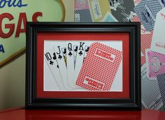MGM Grand Las Vegas 5x7 Flush Clubs Authentic Playing Card Display by SinCityDisplays