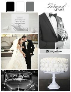 Classy color palette: black, white, and gray.  The gray helps soften the two extremes. Lovely. :)
