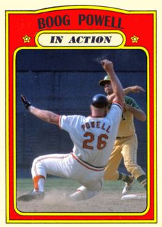 1972 Topps Boog Powell In Action, Baltimore Orioles, Baseball Cards That Never Were