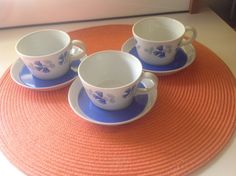 Arabia - Sinikello - Kahvikupit ja tassit, 3 paria - Huuto.net