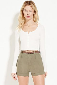 Belted Linen-Blend Shorts   Forever 21 - 2000150057