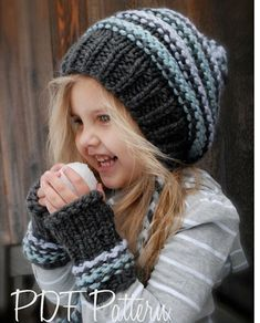 Knitting PATTERN-The Jersey Cap/Mitt Set Toddler Child