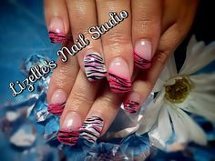 Hot pink zebra tips with silver glitter. Pearly white accent nails with black zebra & hot pink glitter.  Hand-painted nail art. Sculpted gel nails. www.facebook.com/LizellesGelNails
