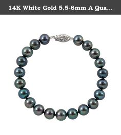 14K White Gold 5.5-6mm A Quality Cultured Dyed Black Freshwater Pearl Strand Bracelet, 7 Inch. 14K White Gold 5.5-6mm A Quality Cultured Enhanced Black Freshwater Pearl Strand Bracelet, 7 Inch.