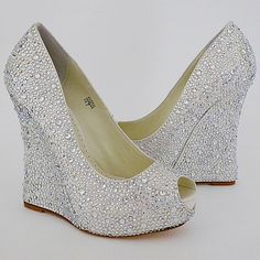 "Benjamin Adams Mila Crystal Wedge for Bridal or Evening Wear.  4 3/4"" heel with 1 1/4"" platform $449"