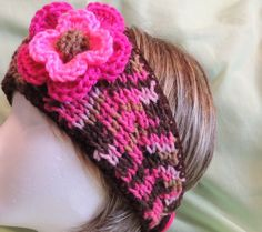 Variegated Pink & Brown Knitted Headband With by AuldNouveau, $15.99