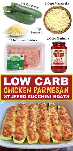 Looking for easy keto dinner ideas? These low carb zucchini boats are super quick and easy to make with just 5 simple ingredients: ground chicken, marinara, mozzarella, parmesan and zucchini. Healthy Food Recipes, Low Carb Dinner Recipes, Keto Dinner, Diet Recipes, Chicken Recipes, Cooking Recipes, Recipe Chicken, Recipes With Ground Chicken, Healthy Dinner Meals