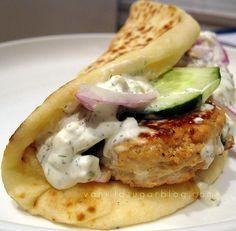 chicken curry burgers in pita with tzatziki