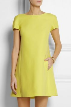 @roressclothes clothing ideas #women fashion Valentino Cutout wool and silk-crepe dress