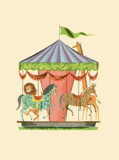 M - Merry-go-round - childrens book illustration Art And Illustration, Gravure Illustration, Graphic Design Illustration, Illustrations Posters, Merry Go Round, Estilo Retro, Carousel Horses, Vintage Children's Books, Bunt