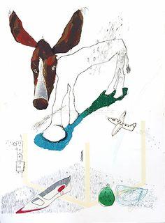 「いぬさん」Lithography リトグラフ Artist: Kiyoshi Soda そだきよし