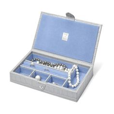 Aspinal of London Paris Jewellery Box In Dove Grey Croc & Pale Blue... ($345) ❤ liked on Polyvore featuring home, home decor, jewelry storage, accessories, paris france home decor, suede jewelry box, light blue home decor, handcrafted jewelry box and handmade jewelry box