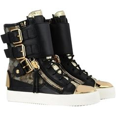 Pre-owned Giuseppe Zanotti Pony Hair Leather High Tops (rds445)... ($474) ❤ liked on Polyvore featuring shoes, sneakers, camouflage and black, leather hi top sneakers, black trainers, camo sneakers, black leather shoes and giuseppe zanotti sneakers