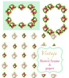Free Digital Vintage Flower Frames and Scrapbooking Papers ~    Use these rose frames and papers for digital scrapbooking or card making. Use the paper as lovely gift wrapping paper, as background for DIY cards or for DIY note book covers.     Download @:  http://meinlilapark.blogspot.ch/2013/04/free-digital-vintage-flower-frames-and.html