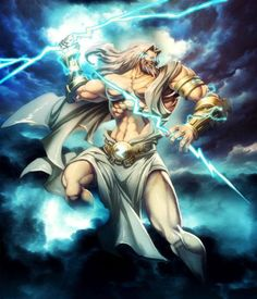 Zeus in Greek mythology is the king of the gods, the ruler of Mount Olympus and the god of the sky and thunder. His symbols are the thunderbolt, eagle, bull, and oak.  Artist: Gonzalo Ordoñez Arias,