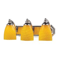 Bath And Spa 3 Light Vanity In Polished Chrome And Canary Glass 570-3C-CN