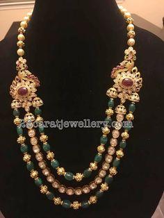 Emerald Beads Polki Long Chain #GoldJewellerySouthindian