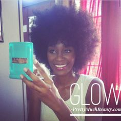 Girls with afros love our Glam Mirror! Makeup by Tamika Patice. Pretty Much Beauty Glam Mirrors feature 8 LED lights and dual sided mirrors. Available in 4 colors. Shop www.PrettyMuchBeauty.com Glam Mirror, Mirrors, Locks, Afro, Glow, Lights, Colors, Makeup, Pretty