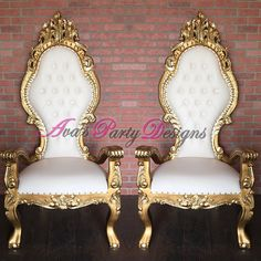 Gold and White Throne Chairs for party rental. Great as a Baby Shower Chair, wedding chair or any special occasion.