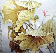 "Photo from album ""Китай Живопись"" on Yandex. Lotus Painting, Japan Painting, Painting & Drawing, Lotus Kunst, Lotus Art, Art Floral, China Art, Zen Art, Art Graphique"