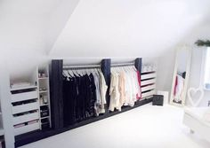Home Design and Decor , Wardrobe Attic Ideas : Wardrobe Attic With White Wall And Drawers Storage And Mirror