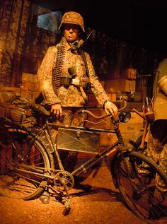 German soldier with an bicycle, museum Ardennes 1944 biketaker.com