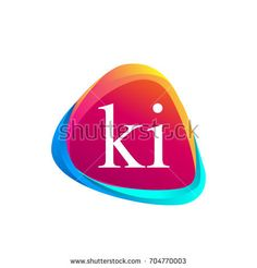 Letter KI logo in triangle shape and colorful background, letter combination logo design for company identity.