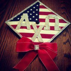 Beautiful AXO graduation cap made by the Gamma Phi chapter
