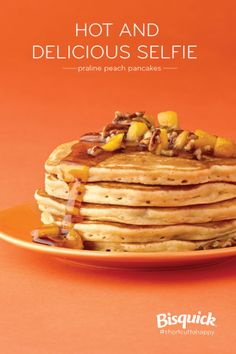Peach yogurt, brown sugar and pecans create the wow in yummy pancakes with a matching syrup!