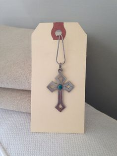 Silver and Turquoise Cross Necklace by MayaVintage on Etsy