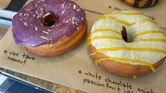 Ube Taro Coconut and White Chocolate Mint Passionfruit at Nomad Donuts in San Diego, CA