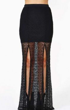 b5110e4b502 Fashion Women Summer Sexy Double Front Split Lace Black Long Mesh Skirt  S-Xxl