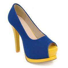 Sexy Suede and Color Block Design Women's Peep Toed Shoes, BLUE, 35 in Peep Toe   DressLily.com