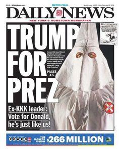   29.02.2016   Não existe dia tranquilo nos domínios de Trump. Desta vez, a manchete de jornal associa o nome de Donald Trump a um dos grupos e episódios mais obscuros da história dos Estados Unidos. Na manhã deste domingo, o magnata se recusou a rejeitar o apoio de um conhecido supremacista branco e antigo líder da Ku Klux Klan (KKK), David Duke, às eleições dos EUA.
