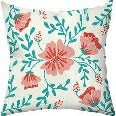 Vintage Floral Holiday Throw Pillow