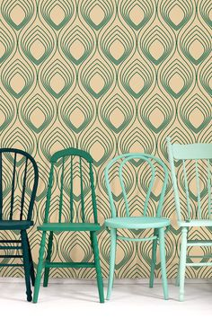They sell the wallpaper - which is nice too - but the beautiful colour palette of these chairs steels my attention! (Self adhesive vinyl wallpaper wall decal Ogee wall by Betapet)