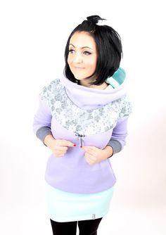 """Kapuzenkleider - MEKO """"Flory"""" Kleid Flieder Damen langarm Spitze - ein Designerstück von meko bei DaWanda"""