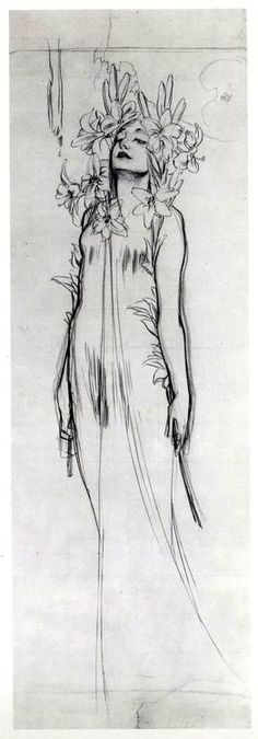 Woman with Lilies, charcoal by Alphonse Mucha. 1902 Woman with Lilies, charcoal by Alphonse Mucha. Figure Drawing, Painting & Drawing, Drawing Sketches, Art Drawings, Drawing Ideas, Contour Drawings, Drawing Faces, Drawing Tips, Motifs Art Nouveau