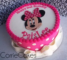 """Paislee's birthday cake - 10"""" round, iced in BC with MMF decoration"""