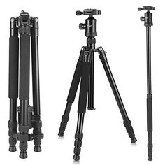 Camera Tripod, KetDirect Aluminium Compact Portable Lightweight Professional Camera Tripods For Cameras monopod With 360 Degree Ball Head and Carry Case For Canon Nikon Sony Olympus DSLR Cameras - LaShopGuide Dslr Cameras, Nikon, Professional Camera, Camera Tripod, Cameras For Sale, Camera Reviews, Video Camera, Camera Accessories, Best Camera