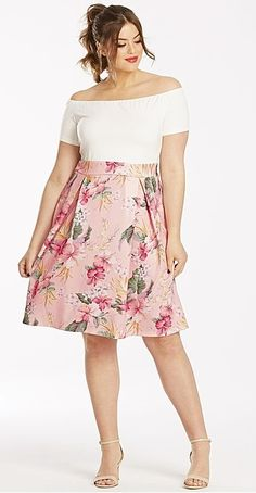 Plus Size Floral 2 in 1 Dress