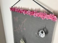Pink Floral Wall Hanging Jewelry Organizer