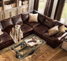 Lancaster Leather Sectional Restoration Hardware In Italian Brompton Cocoa