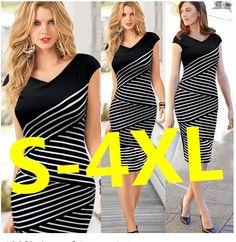 Womens Sexy Hip Stripe Pencil Dress