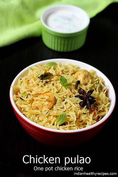 chicken pulao is a one pot chicken pilaf made with herbs, spices, chicken rice. Instructions for regular pot, instant pot pressure cooker via Chicken Pulao Recipe, Chicken Rice Recipes, Fried Fish Recipes, Chicken Masala, Biryani Recipe, Shrimp Recipes, Indian Food Recipes, Ethnic Recipes, Indian Foods